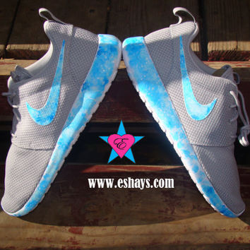 Custom Gray Nike Roshe Run Sky Tie Dye Gray Painted Nike Roshe