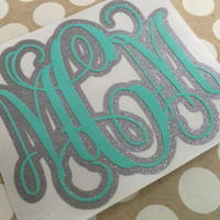 Glitter Double Layer Monogram | Double Layer Vine Monogram | Script Monogram | Fancy Monogram | Vine Monogram Decal | Monogram Vinyl Decal