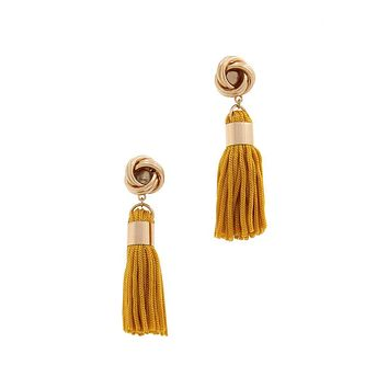 Simple Casual Fashion Jewelry Knot Tassel Post Drop Earring