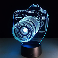 Loskii DL-3D7 Digital Camera 3D LED Lights Colorful Touch Night Light Christmas Gift Home Decor