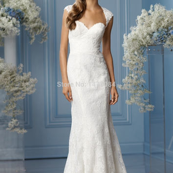 Luxury Cap Sleeves Lace Sheath Wedding Dresses Floor Length Long Sweep Train Gowns 2015 New Arrival