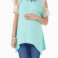 Mint Green Crochet Open Shoulder Maternity Top