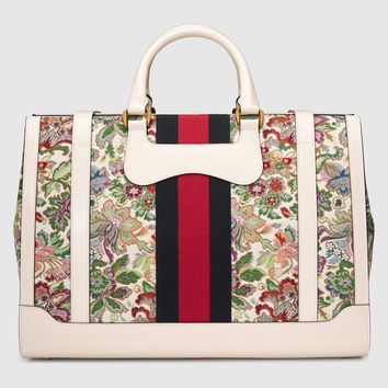 Gucci Floral tapestry duffle with Web