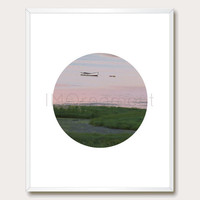 Pink Sunrise. Photo Download. Boat. 8x10. Pink Wall Art. Modern Wall Art. Nature Photography. Photo Printable. Circle Art. Instant Download