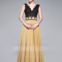 [ 142.99] A-Line/Princess V-neck Floor-Length Chiffon Lace Prom Dress With Pleated (017042637)