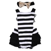 Toddler Kids Baby Girls Clothes Lace Striped Jumpsuit Romper Playsuit+Headband Outfits