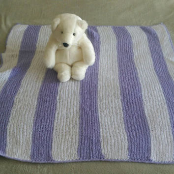 Knit Baby Blanket Striped White and Lilac Heirloom Handmade Afghan Throw Knitted Baby Girl Blanket Purple