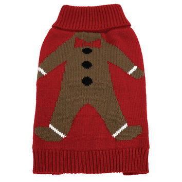 Gingerbread Man Ugly Christmas Dog Sweater