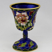 Asian Antique homedecor Chinese hand-carved cloisonne Tea cup, Wine glasses metal craft