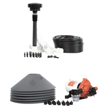All in One Professional 6-Plant Grow Kit - Includes Drip Irrigation Emitters, Pump, Hydrolock Caps, Fittings, Bubbler Manifold, Tubing. Indoor & Outdoor Use - USA Made