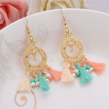 5 Colors Indian Ethnic Jewelry Earrings Gold Plated Long Plastic Beads Drop Earrings With Lines Women Christmas Gift colorful