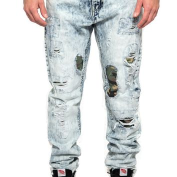 Distressed Camo Lining Jeans