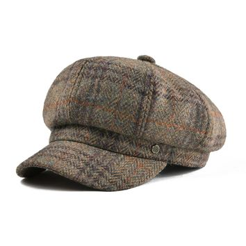 05ca3627ed968 VOBOOM Wool Women s Newsboy Cap Tweed Herringbone Camel Ladies I