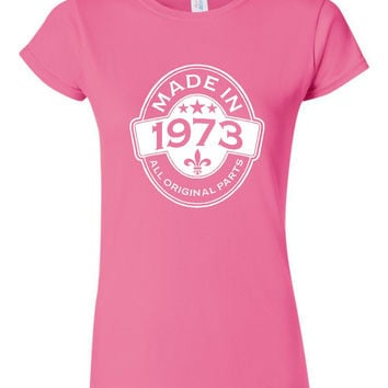 MADE in 1973 All Original Parts Birthday T Shirt Ladies Mens Vintage Birthday Shirt 42nd Birthday