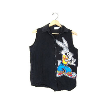 Vintage 90s LOONEY TUNES Bugs Bunny Raver GRUNGE Hip Hop Club Kid Slouchy Grunge Black Cotton Button Up Shirt Top Tank. Medium