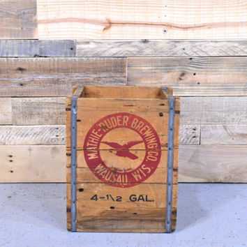 Vintage Mathie Ruder Brewing Co Crate, Wausau Wisconsin, Vintage Wood Crate, Wood Beer Crate