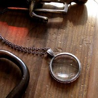 Tiny Antiqued Silver Monocle Necklace