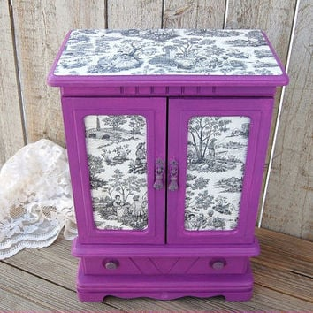 Jewelry Box, Jewelry Armoire, Music Box, Radiant Orchid, Shabby Chic, Purple, Black, Toile, Damask, Musical, Decoupage, Upcycled