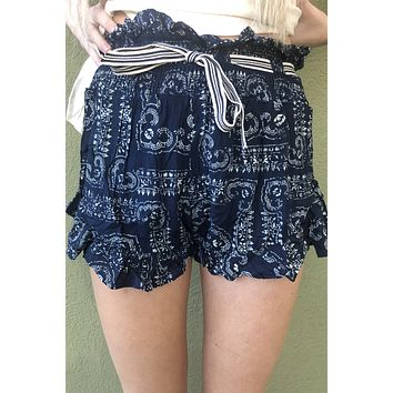 Oceans Away Shorts- Navy