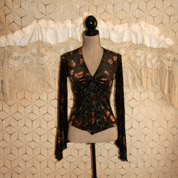 Gypsy Bohemian Top Brown Floral Blouse Velvet Burnout Bell Sleeves Romantic Gypsy Clothing Bohemian Clothing XS Small Women Vintage Clothing