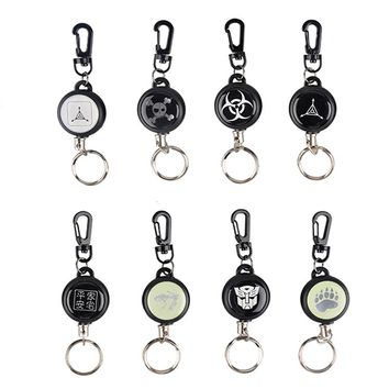 Outdoor Telescopic Wire Rope Key EDC Steel Rope Burglar Keychain Tactical Retractable Chain Return key Ring Holder Camping Tools