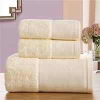 SunnyRain 3-Pieces Cotton Towel Set 510gsm Solid Color Luxury Bath Towel For Adults Face Towel High Absorbent toalha de banho