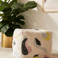 Shaggy Patterned Ottoman | Urban Outfitters