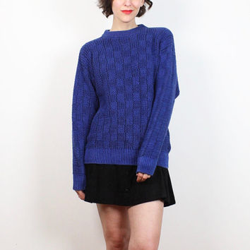 Vintage Cobalt Blue Black Textured Boyfriend Sweater 1990s Cozy Knit Jumper Normcore Chunky Knit 90s Sweater Ribbed Plaid Pullover M Medium