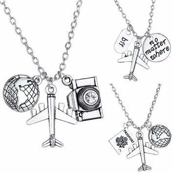 Travelling The World Wanderlust Travelers Best Friends Necklaces Gifts Camera Airplane BFF Globe Pendant Necklace Travel Jewelry