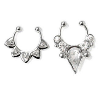Silver Filigree and Spike Faux Septum Ring Pack