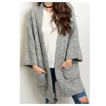 """Dont Be Jealous"" Thick Cable Knit Grey Sweater Cardigan, Jacket"