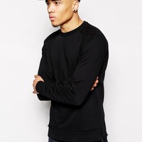 ASOS Longline Sweatshirt With Dropped Hem & Raw Edges