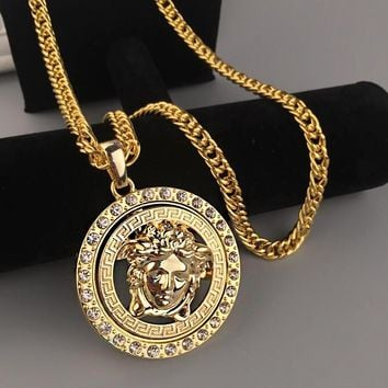 Versace Fashion Men Woman Personality Diamond Golden Necklace I13391-1 20aa1dbcf4