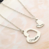 2PCS Vintage Heart Mother Daughter Necklace Pendant Mother Day Party