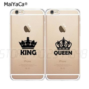Cool queen & king best friends BFF full rubber soft silicone transparent case for iphone 5s se 6 6s 6plus 7 7plus 8 8plus X XR XS MAXAT_93_12