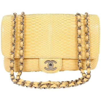 Chanel Moutard Python Classic Flap with Silver Hardware