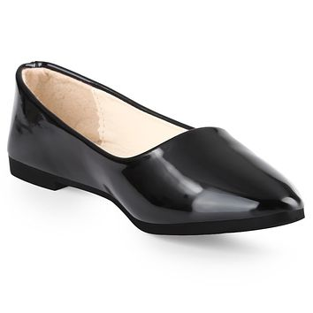 Spring Casual Ladies Solid Color Patent Leather Flat Shoes