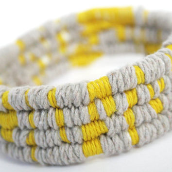 Yellow & Grey Linen Coil / Thread Wrap Bangle
