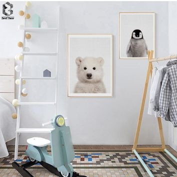 Polar Bear Canvas Painting Nursery Wall Art Penguin Poster and Print Nordic Animal Picture for Kids Baby Boys Room Home Decor