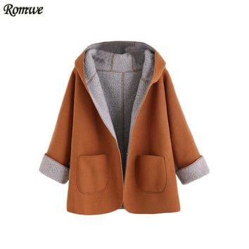 Women Winter Designer Coats Fashion Winter Coats Women Khaki Contrast Sherpa Lining Single Button Hooded Coat