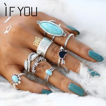 IF YOU Vintage Boho Big Blue Stone Heart Finger Midi Knuckle Ring Set for Women Punk Antique Silver Color Flower Rings Jewelry