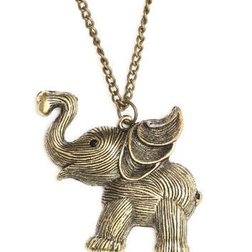 Happy Elephant Necklace Antique Gold Tone NJ19 Vintage Charm Pendant