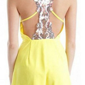 Yellow Sequined Backless Romper