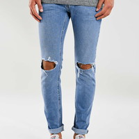 Mid Wash Ripped Stretch Skinny Jeans - New In