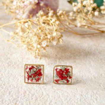 Real Pressed Flowers and Resin Square Stud Earrings in Red and Mint