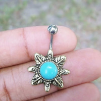 14 gauge stainless steel body jewelry turquoise boho bohemian belly button ring,navel ring, body jewelry