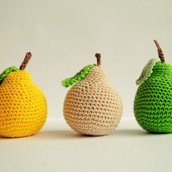 Crochet Pears Crochet Fruits Pretend food Play Food Play Kitchen food Montessori Kids Toy Crochet Educational toy Kitchen decor Stuffed
