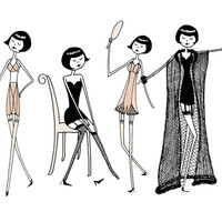 Flappers in the boudoir art print set