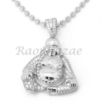 Sterling Silver .925 AAA Lab Diamond Smiling Buddha w/2.5mm Moon Cut Chain S052