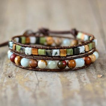 Intentions Mixed Natural Stones Leather Double  Wrap Bracelet